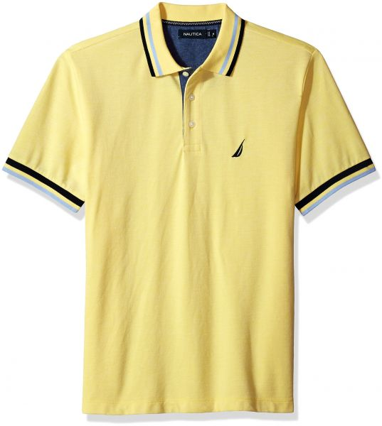 998bbf1483c71 Nautica Men s Short Sleeve Performance Pique Polo with Tipping ...
