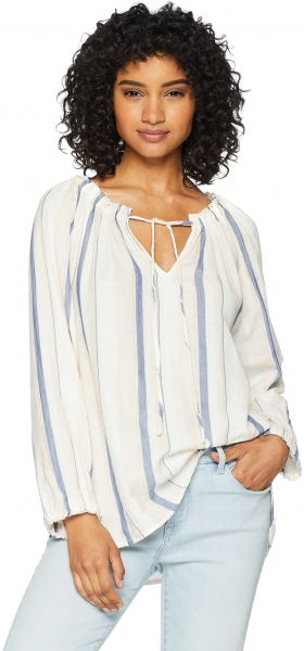 8fe9aadc5c4d1 Dylan by True Grit Women s Colony Stripe Double Cloth V-Neck Long Sleeve  Claire Blouse