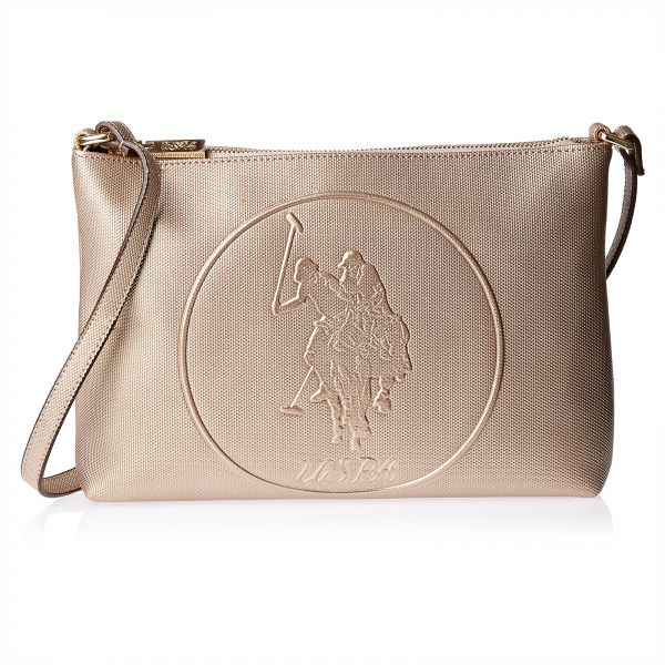 79d7cb1207 U.S. Polo Assn. Leather Clutch Bag for Women - Rose Gold