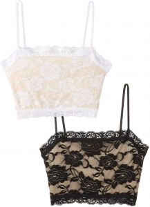 0f3daf2684e PURE STYLE Girlfriends Camiflage 2-Pack Lined Stretch Lace Half Camisole
