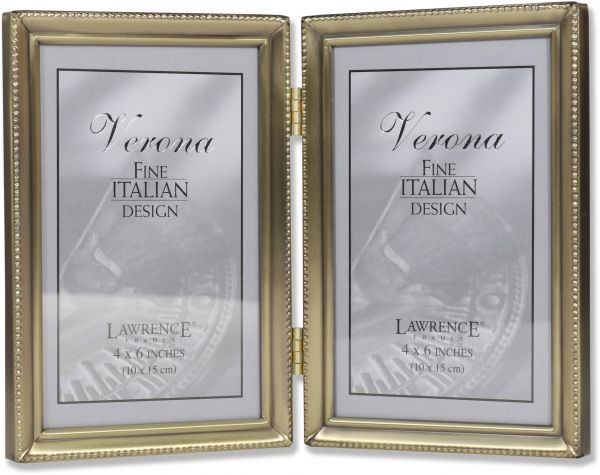 Lawrence Frames Antique Brass 4x6 Hinged Double Picture Frame Bead