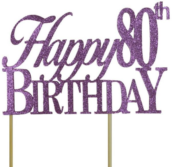 All About Details Purple Happy 80th Birthday Cake Topper