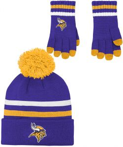 1a4bf49f981 NFL by Outerstuff NFL Boys (4-7) 2 Piece Knit Hat and Gloves Set-Regal  Purple