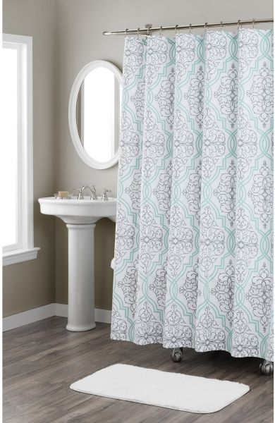Home Dynamix Nicole Miller Laurel 100 Cotton Fabric Shower Curtain Standard 72X72 Aqua Blue White Floral