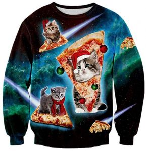 Unisex Pizza Cat Christmas Sweater Vacation Santa Elf Pullover Funny Womens  Men Sweaters Tops Autumn Winter Clothing d0b68e38b