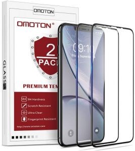 iPhone XS Max(6.5 Inch) Screen Protector [2 Pack],OMOTON iPhone XS Max Full Coverage Tempered Glass Screen Protector with [Easy Install Tool] [9H ...