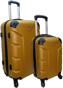 9dcb21dfdcc8 Highflyer FLASH 18inch and 26inch 2Pc ABS Trolley Luggage Bags - Gold