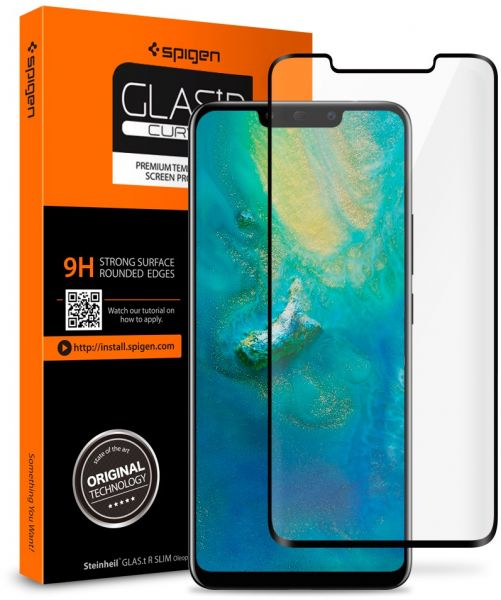 sports shoes 0d9a8 74334 Spigen Huawei Mate 20 PRO GLAStR Curved Tempered Glass Screen Protector -  Case Friendly