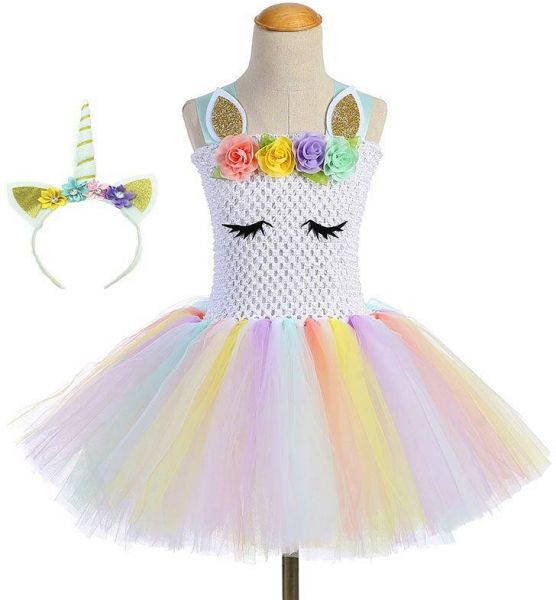 Children Girls Unicorn Tutu Dress Rainbow Princess Kids Birthday Party  Dress Girls Christmas Halloween Pony Cosplay Costume  44025af3bd3e
