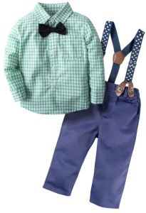 62f46ae79 BIG ELEPHANT Baby Boy s Long Sleeve Shirt Pants Clothing Set with  Suspenders H03 Green Large