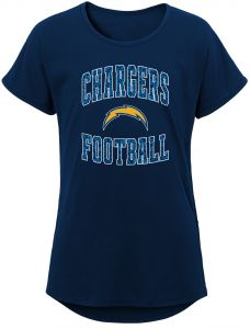 776ce37dc0173 NFL by Outerstuff NFL San Diego Chargers Youth Girls Team Lace Short Sleeve  Dolman Tee Navy