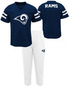f3e7ace03d30 NFL by Outerstuff NFL Los Angeles Rams Kids Training Camp Short Sleeve Top    Pant Set Dark Navy
