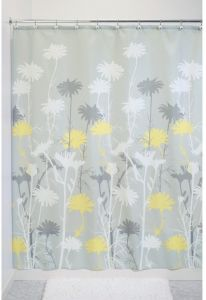 InterDesign Daizy Shower Curtain Gray And Yellow 54 X 78 Inch