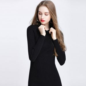 0ec021f1c8d Women Autumn Winter Sweater Dress Slim Turtleneck Bodycon Solid Color  Casual Knitted Dress