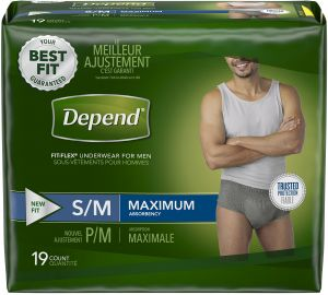 ef38112993451 Depend FIT-FLEX Incontinence Underwear for Men, Maximum Absorbency, S/M,  Gray (Packaging may vary) | KSA | Souq
