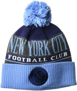 562a9bd388e6d adidas MLS New York City FC Men s Heathered Gray Cuffed Knit Beanie with  Pom