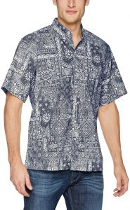 710ae48cff45 Reyn Spooner Men s Aloha Bandana Kloth Classic Fit Hawaiian Shirt Ink