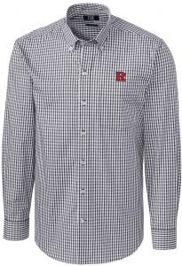 0285220be93 NCAA Rutgers Scarlet Knights Mens Long Sleeve Button Down Stretch Gingham  Shirt, Charcoal, X-Large
