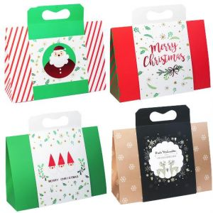 4 Pcs Christmas Big Horn Carries A Bag Fashionable And Practical Portable Gift Box Extra Large Capacity 32x11x29 Cm