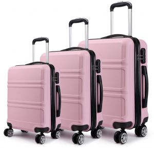 d6e7f94d97d8 Kono Lightweight ABS Suitcase 4 Spinner Wheels Trolley Case 3pcs Luggage  Set 20