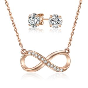 3cbb4bda3 Mestige Infinity Set With Swarovski Crystal Stones For Women - Rose Gold