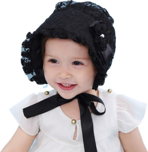 c9545ef198a Lace Flower Baby Bonnet Newborn Hats Summer Baby Cotton Hat Lace-up Beanie  Adjustable Cap Newborn Sun Hat