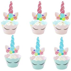 c62cabe67d67 Unicorn Cupcake Toppers and Wrappers Set of 12 Birthday Party Supplies