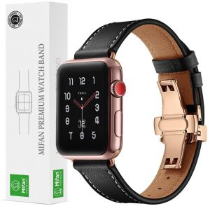 4660327615415 Mifan Official Genuine Leather Band for Apple Watch 44mm 42mm Series  1 2 3 4 Strap Replacement Premium Soft Wristband Bracelet Black with Rose Gold  Click ...
