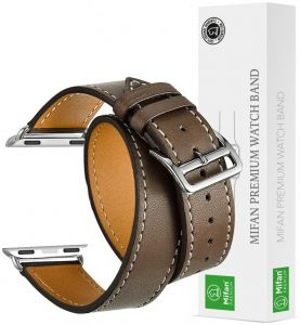 1ef1674d61c Mifan Official Double Tour Genuine Leather Band for Apple Watch 40mm 38mm  Series 1 2 3 4 Strap Replacement Premium Soft Supreme Style Wristband  Bracelet ...