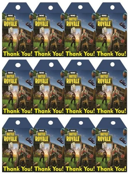 Fortnite Birthday party Thank You Tags - 12 pcs