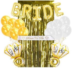 Gold Bachelorette Party Decorations And White Bridal Shower Kit 5 Bride Balloons 1 To Be Sash Foil Fringe Curtain 2 Ring