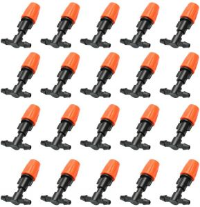 20pcs Orange atomizing Nozzle Suit Irrigation Faucets Small Size Plastic Adjustable Sprayer Garden Water Cooling Spray Sprinkler Nozzle Suit Drip Irrigation ...