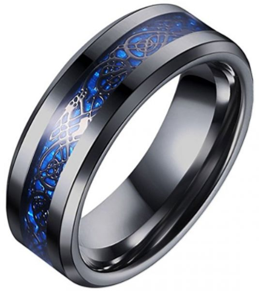 King Will Dragon Blue Celtic Tungsten Carbide Ring 8mm Mens Black Wedding Band Polished Comfort Fit