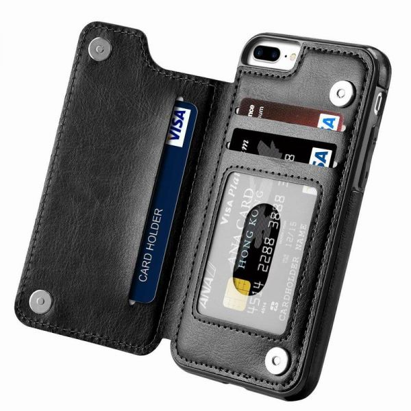 low priced f6e23 d4bcb iPhone 7 Plus case,iPhone 8 Plus Wallet Case with Card Holder Kickstand  Card Slots Shockproof Cover for iPhone 7 Plus/8 Plus Black