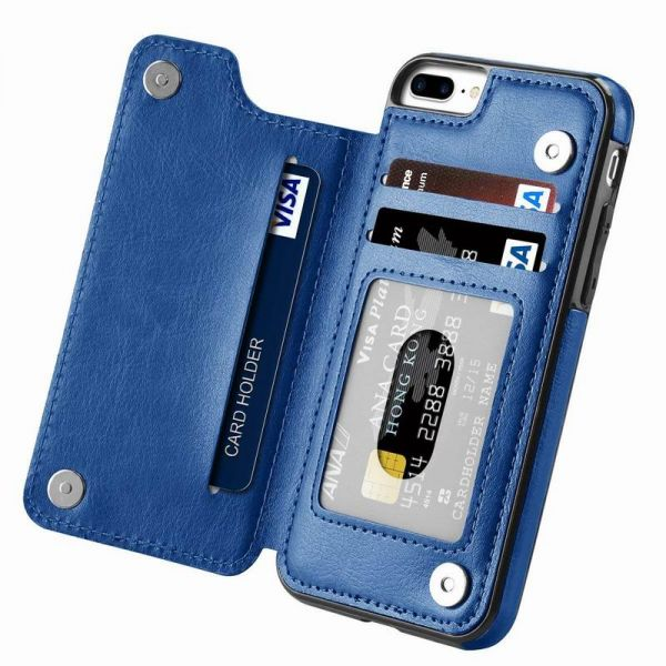 0864dd1676d iPhone 7 Plus case,iPhone 8 Plus Wallet Case with Card Holder Kickstand  Card Slots Shockproof Cover for iPhone 7 Plus/8 Plus Blue