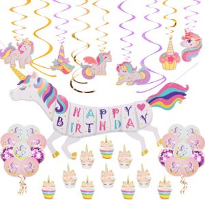 41 Pcs Rainbow Unicorn Theme Birthday Party Decorations Supplies 3D Happy Banner 12 Ct Hanging Swirls 10 Cupcake Toppers 18pcs