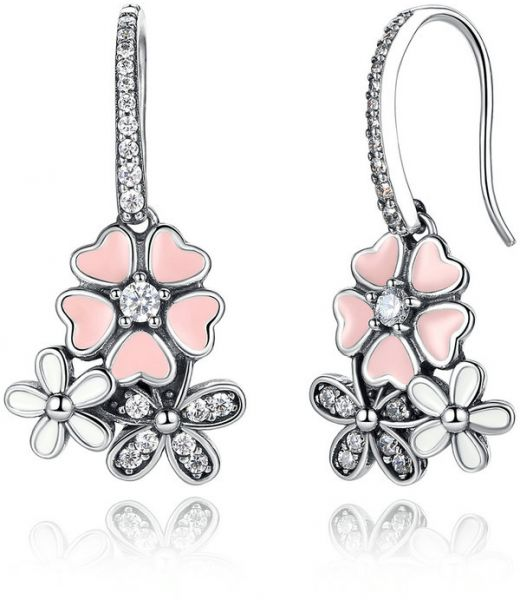 Charming Flower Design 925 Sterling Silver Inlay Clear Crystals Dangle Drop Earrings for Women