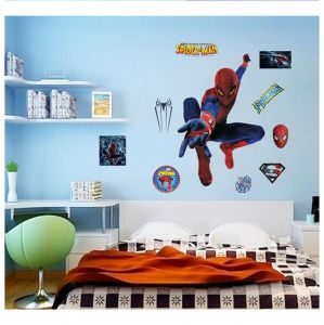 3D Cool Spiderman Wall Stickers Removeable Cartoon Sticker Wall Decorative  Paper For Kids Room