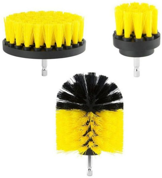 3pc Car Cleaning Brush Car Detailing Brush Drill Brush With Drill Attachment Tub Cleaner Scrubber Cleaning Brushes Automotive Detailing Spin Scrubber Set