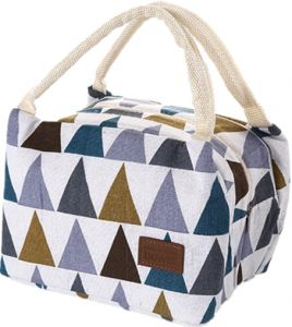 334d58cfe9 Stylish little triangular ladies insulated reusable canvas lunch box with  soft ice bag zipper closed and top treated in color