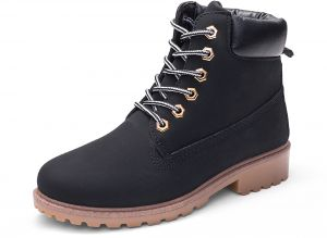a474ae7557b9 Martin Boots Solid Color PU Leather Boots Flat Bottom Round Toe Large Size  Lace Up Durable Comfy Stylish Breathable Elegant Boots For Women