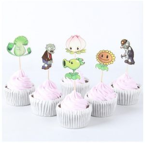 Zombies Theme Decoration Favors Cake Cupcake Topper Kids Birthday Party 24pcs