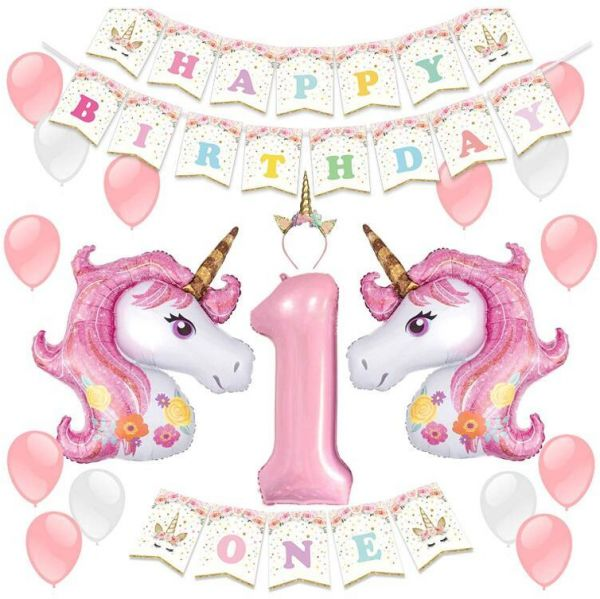 LUCK COLLECTION Unicorn Party Decoration Supplies For 1st Birthday Girl With Headband Balloons