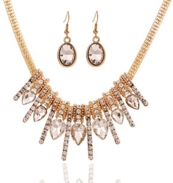 Women's Crystal Necklace Earrings Set Fashion Exquisite Pendant Jewelry