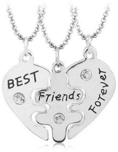 Sterling silver diamond necklace romantic anniversary gift for a woman s  best friend best friend wedding birthday gift 3 pcs 7284116a0b
