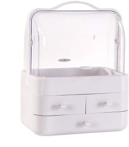 1f4ffdc36903 Dust-Proof with Cover Cosmetic Organizer Storage Box Drawer Desk Organizer  Case Acrylic Dressing Table Makeup Organizer Bag Lipstick Skin Care Holder  White