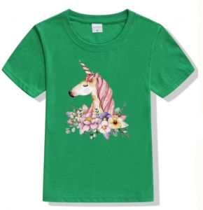 4e961330f Children Unicorn cartoon T-shirt round neck short sleeve cotton t-shirt for  boys and girls,green