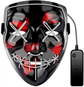 926b9cfa6cc1 Ice Blue Cosplay Led Mask Halloween Scary Costume Mask EL Wire Light up for  Halloween Festival Party