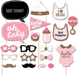 1584bc03c13f5 20PCS set Baby Shower Photo Booth Props Boy Girl Baby 1st Birthday Funny  Party Decoration DIY Fun Kits Centerpieces Photocall I LOVE MUM Photo Booth  Props