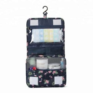 5e18e911c36b Navy Blue Flamingo Hanging Hanging Travel Toiletry Bag Makeup Cosmetic Pouch